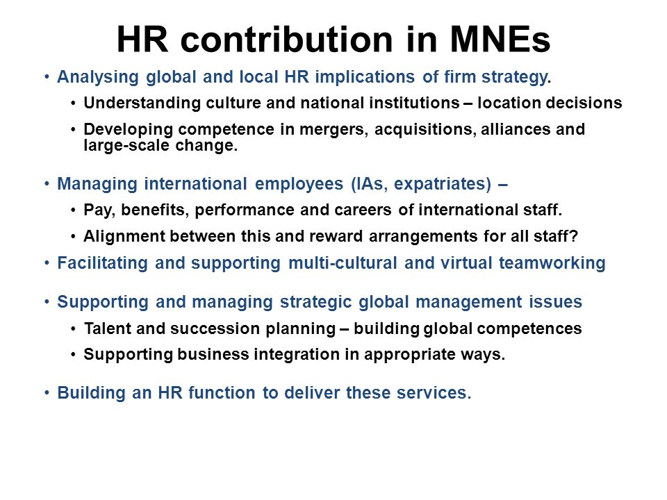 a typology of international human resource International human resource strategies, hr instruments and cross-national processes of six mncs across three countries in the sample, training and development, performance management and.