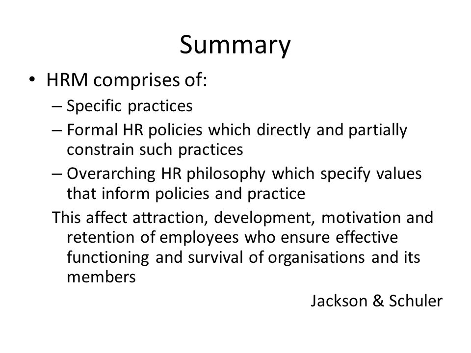 Human Resource Management (HRM) - Summary