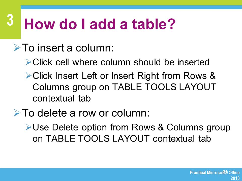 Chapter 3 making presentations with powerpoint ppt video online download - How to add a column in a table ...