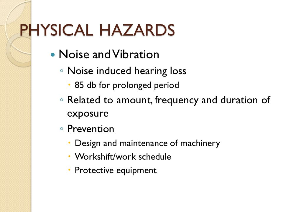 noise induced hearing loss and its prevention Noise-induced hearing loss (nihl) is defined as a hearing impairment resulting from exposure to high decibel sound that may exhibit as loss of a narrow range of frequencies, impaired cognitive perception of sound or other impairment, including hyperacusis or tinnitus.