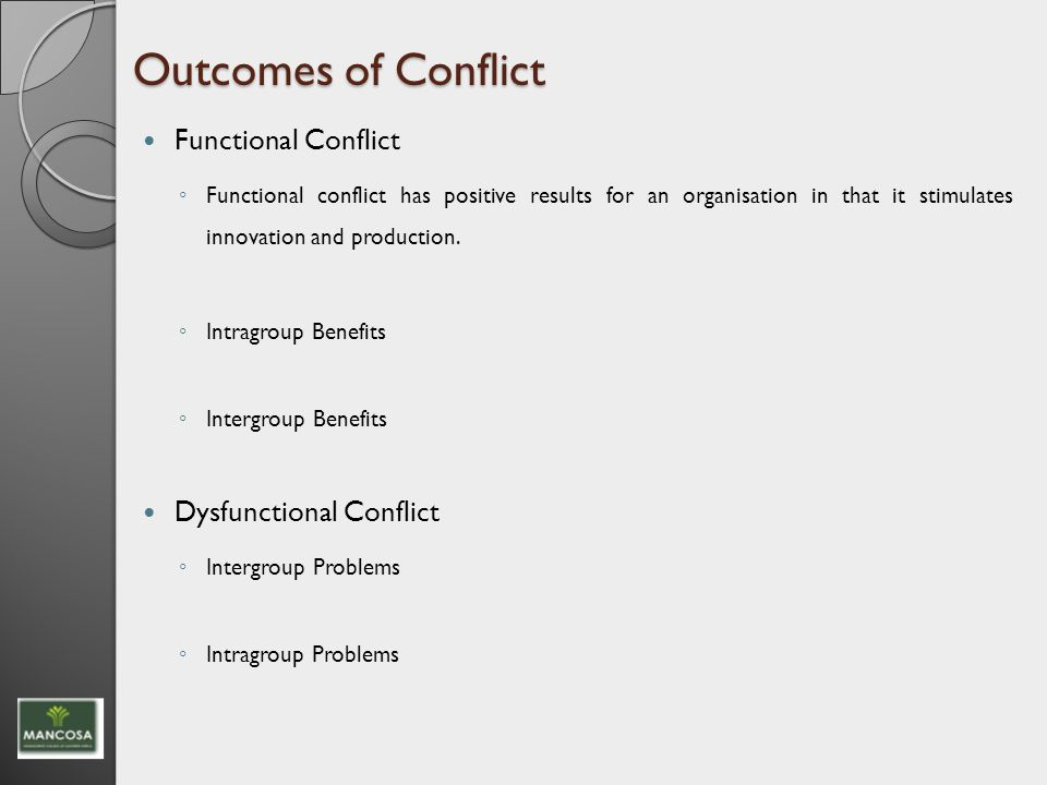 Briefly explain the differences between functional conflict and dysfunctional conflict.