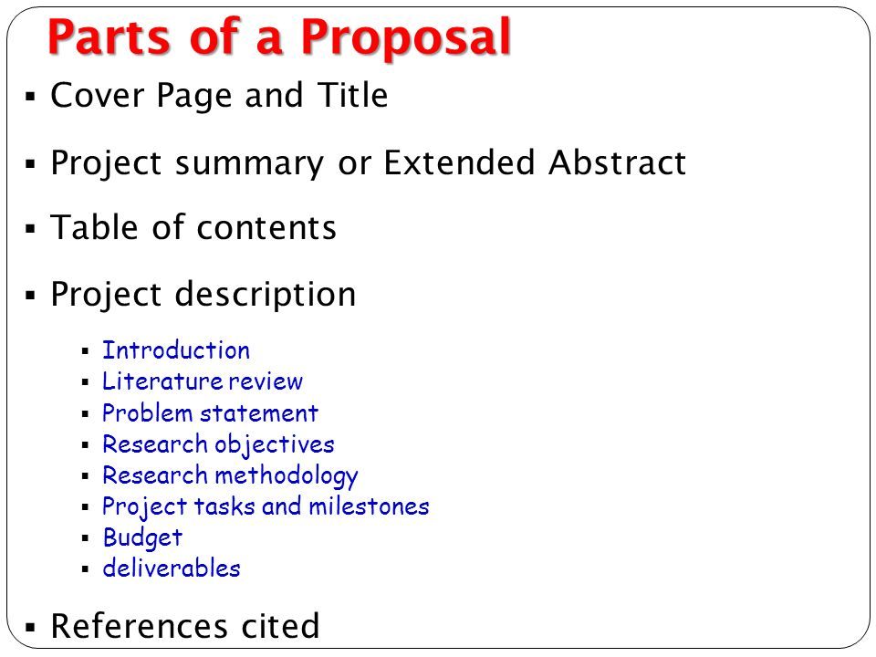 parts of a proposal essay Content aside, the writing style and presentation of papers in different  educational fields vary greatly nevertheless, certain parts are common to most  papers,.