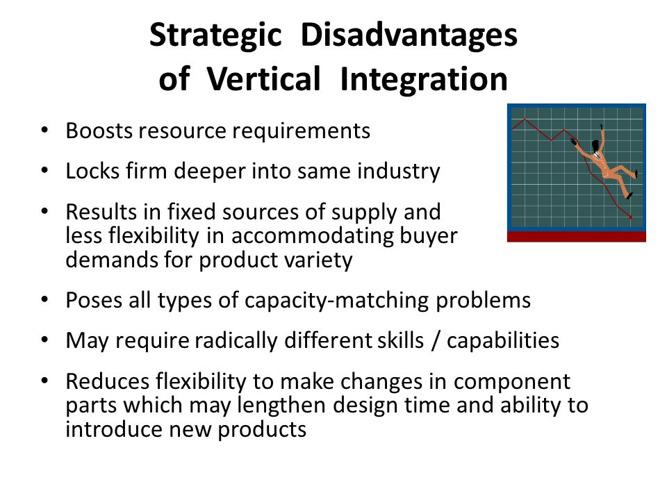 disadvantages of vertical integration Vertical integration means companies own more than one what are the pros and cons of vertical integration update what are the advantages and disadvantages.