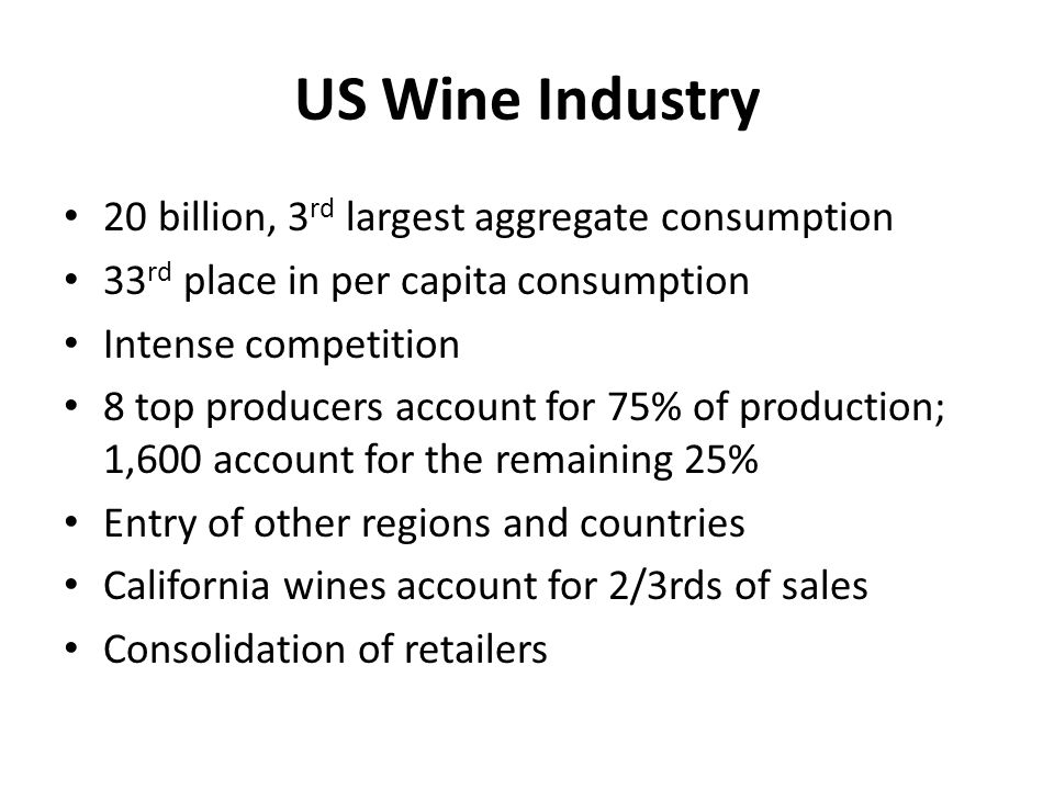 Strategic justifications in the us wine industry