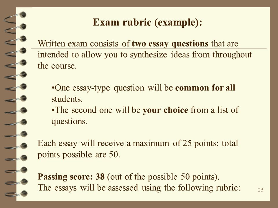 rubric for an essay question