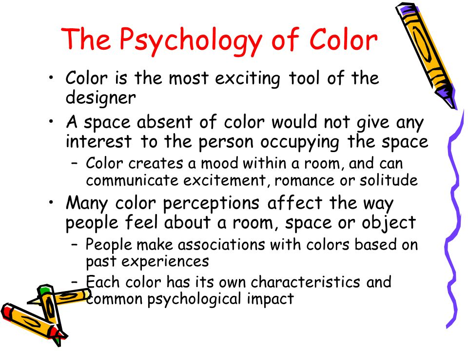 psychology of color essay Free essay: psychology research paper 1/23/11 the psychology of color the brain receives signals from three different color channels: red, blue, and green.
