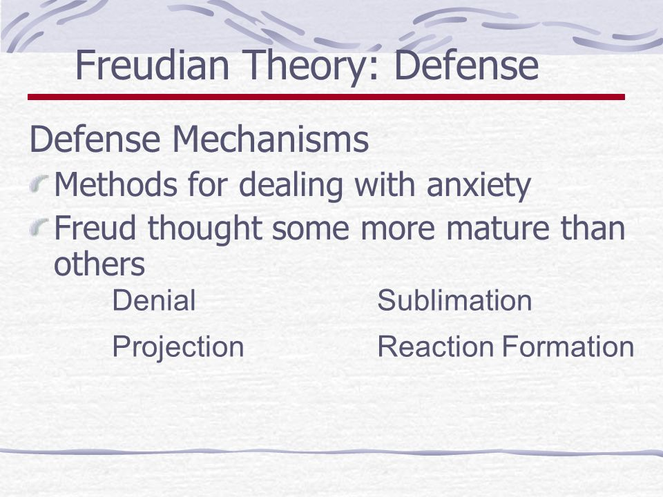 freudian projection Psychological projection is a theory in psychology in which humans defend themselves against their own unconscious impulses or qualities (both positive and negative) by denying their existence in.