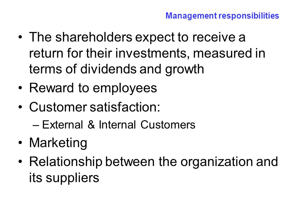 the relationship between shareholders and management is called