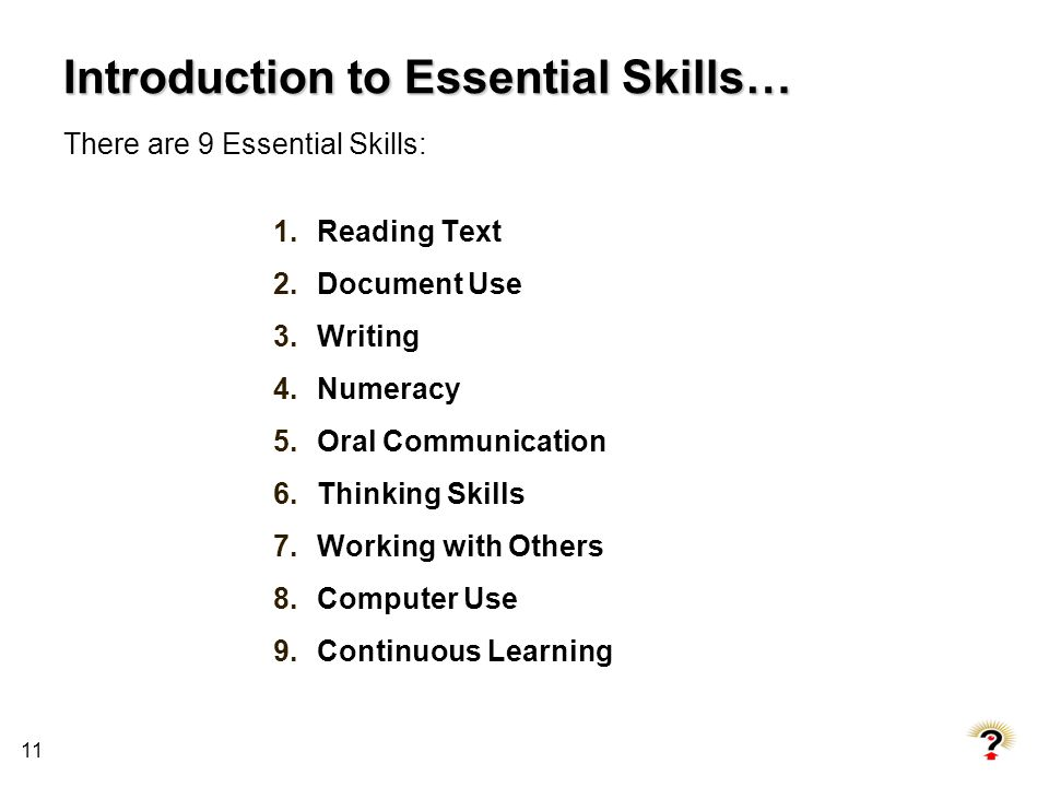 Introduction to Essential Skills…