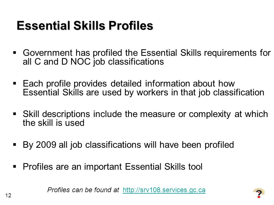 Essential Skills Profiles