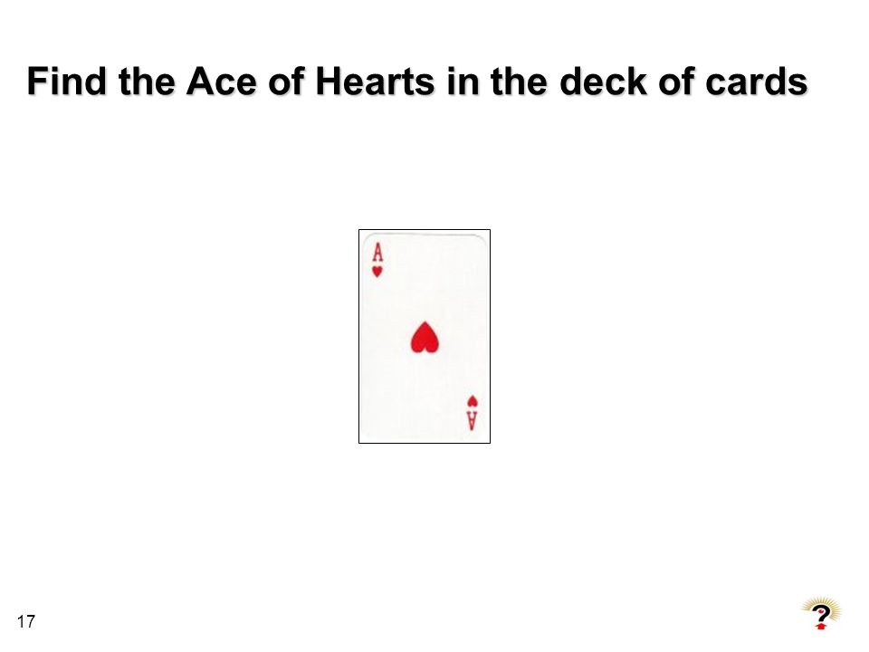 Find the Ace of Hearts in the deck of cards