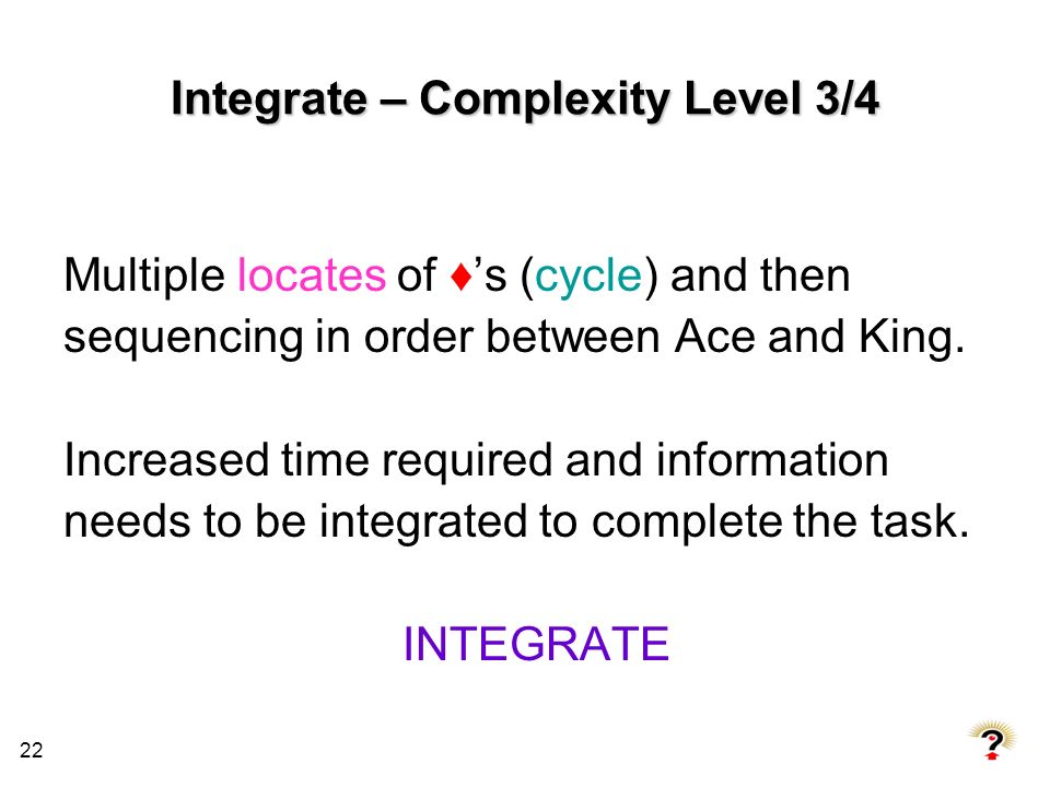 Integrate – Complexity Level 3/4