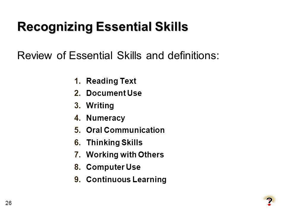 Recognizing Essential Skills