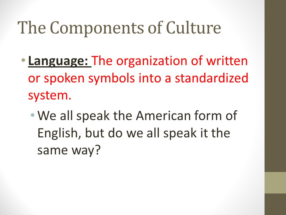 components does culture Definition of culture 2 components of essay on culture: definition, components and types a culture which does not meet the recurring needs and demands of.
