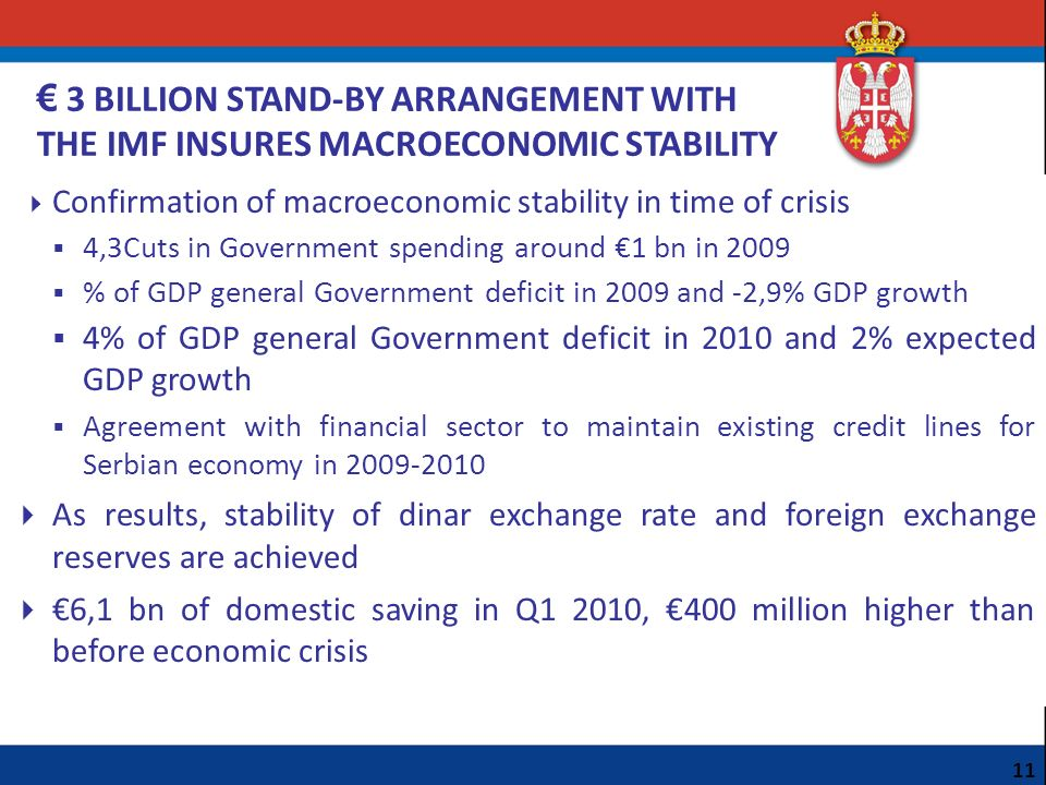 € 3 BILLION STAND-BY ARRANGEMENT WITH THE IMF INSURES MACROECONOMIC STABILITY