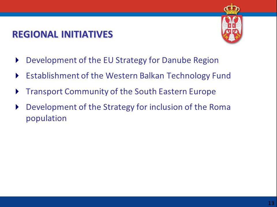 REGIONAL INITIATIVES Development of the EU Strategy for Danube Region