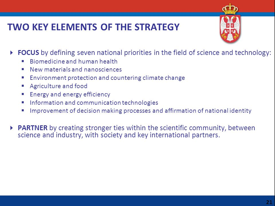 TWO KEY ELEMENTS OF THE STRATEGY