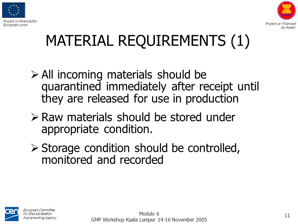 MATERIAL REQUIREMENTS (1)