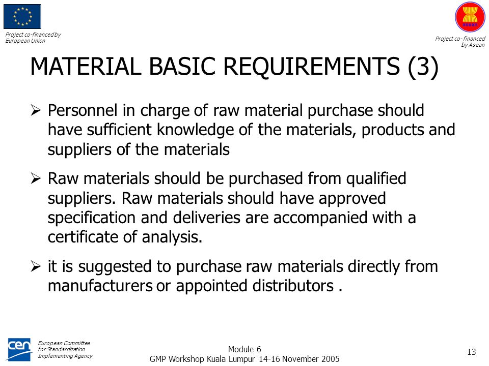 MATERIAL BASIC REQUIREMENTS (3)