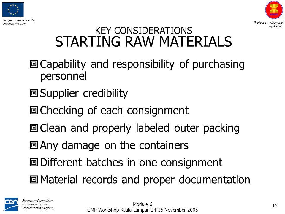 STARTING RAW MATERIALS