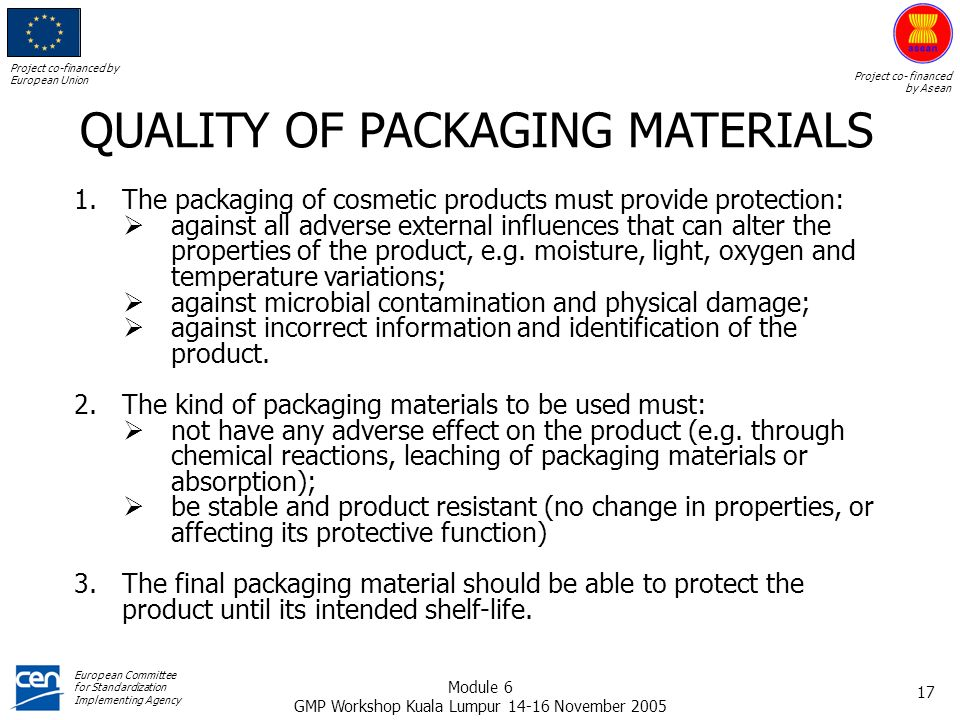 QUALITY OF PACKAGING MATERIALS