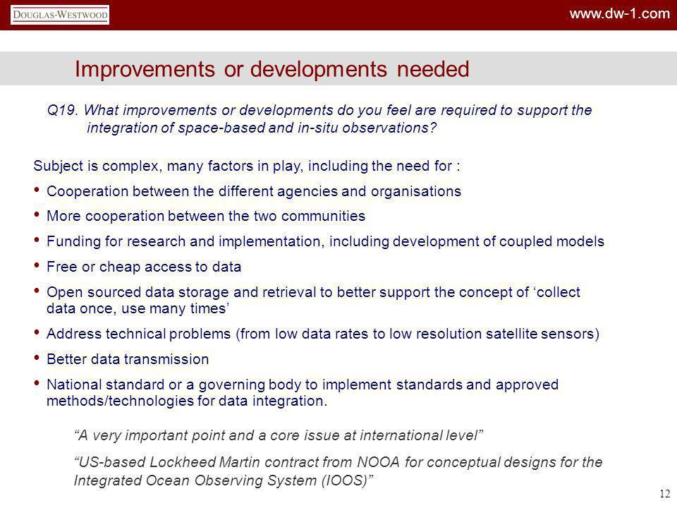 Improvements or developments needed