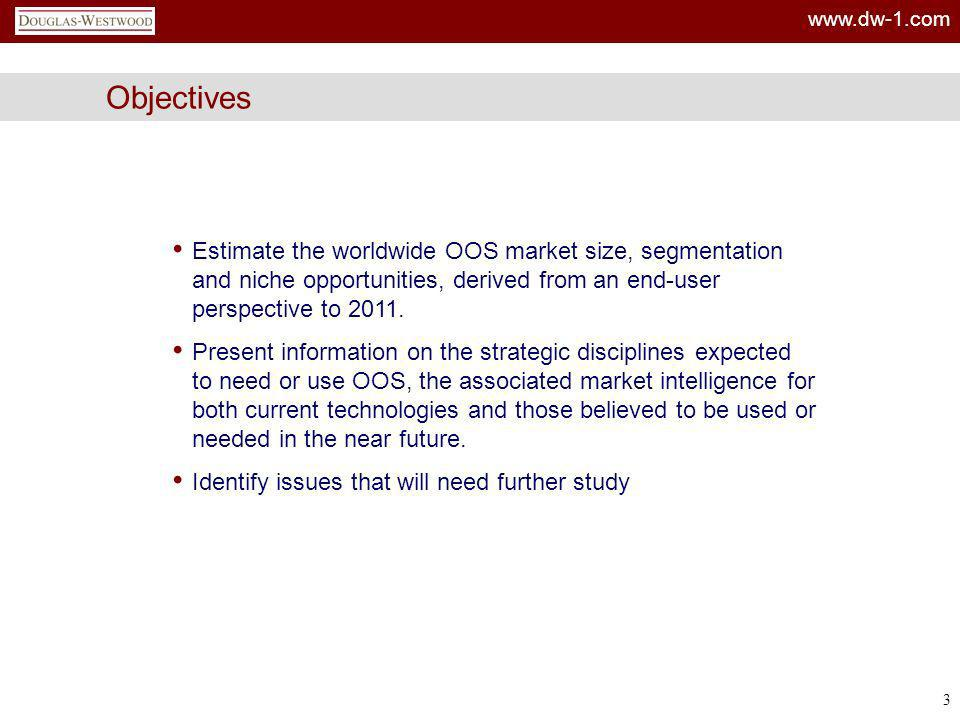 Objectives Estimate the worldwide OOS market size, segmentation and niche opportunities, derived from an end-user perspective to 2011.