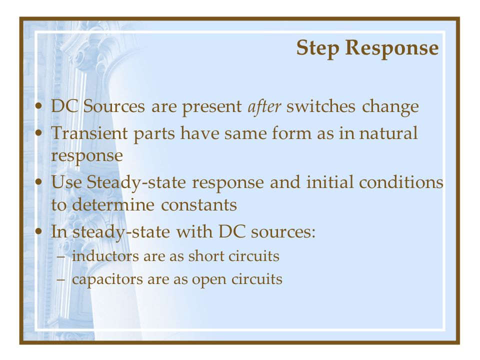 Step Response DC Sources are present after switches change