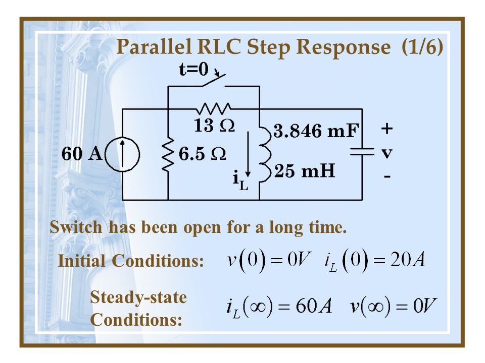 Parallel RLC Step Response (1/6)