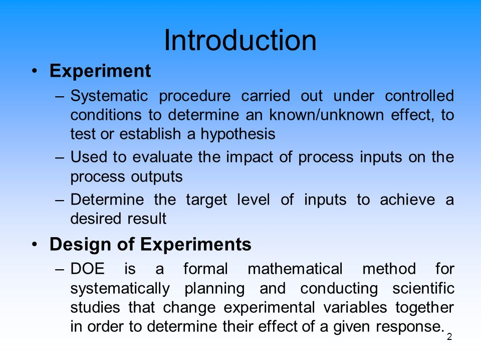 Doe An Effective Tool For Experimental Research Ppt