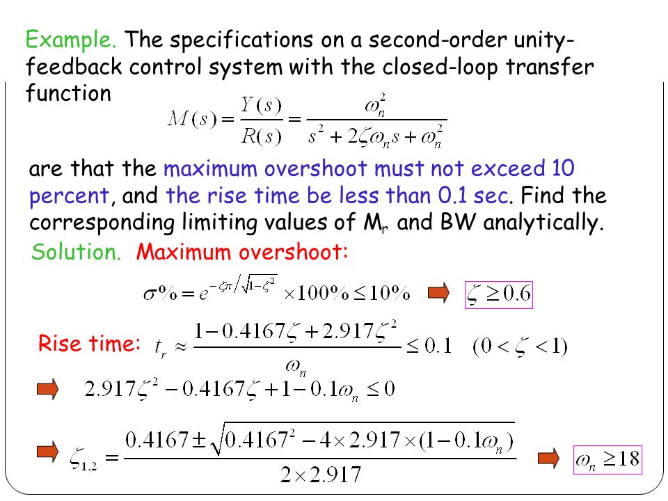 Example The Specifications On A Second Order Unity Feedback Control System With The Closed Loop Transfer Function