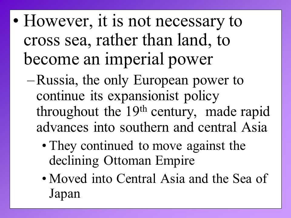 the only imperial power in asia Japan became an imperial power for several reasons here are some of them: a it needed colonies where it could sell its surplus goods b it wanted to create an empire so it could be like western.
