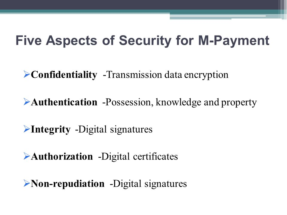 Five Aspects of Security for M-Payment