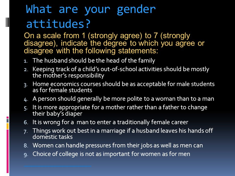 What are your gender attitudes