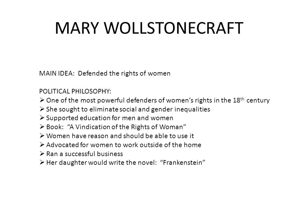 Statistics on Mary Wollstonecraft's A Vindication of the Rights of Women