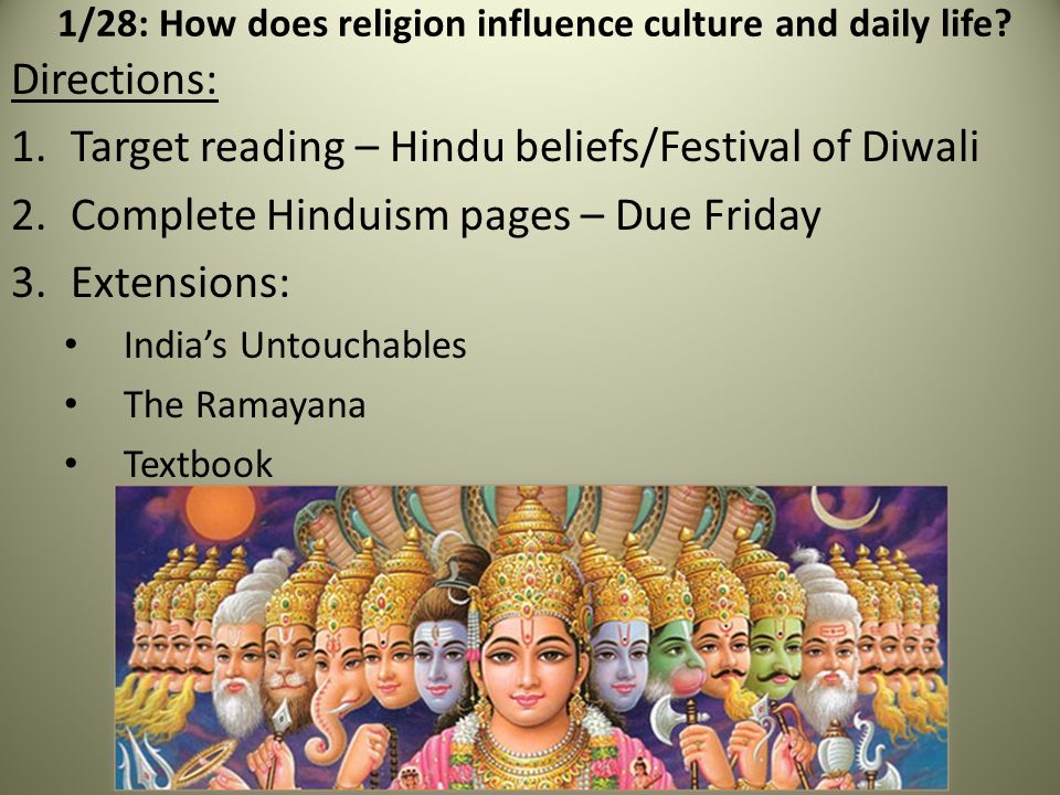the influence of hindu religion one of the first religions on culture Find out more about the oldest religions still practiced  hinduism (founded  around the 15th – 5th century bce)  and unpopularity in china, and remains  one of the leading influences on modern chinese folk religion.