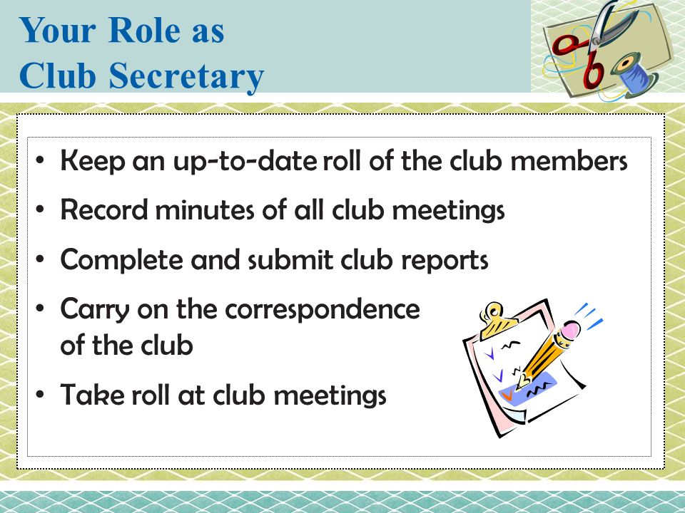 Your Role as Club Secretary