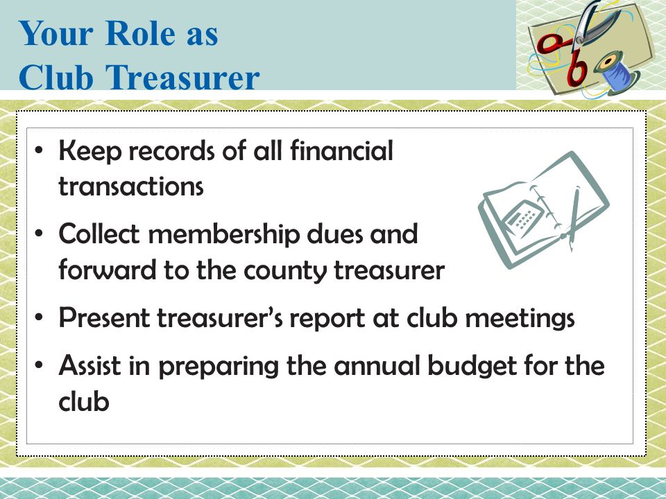 Your Role as Club Treasurer