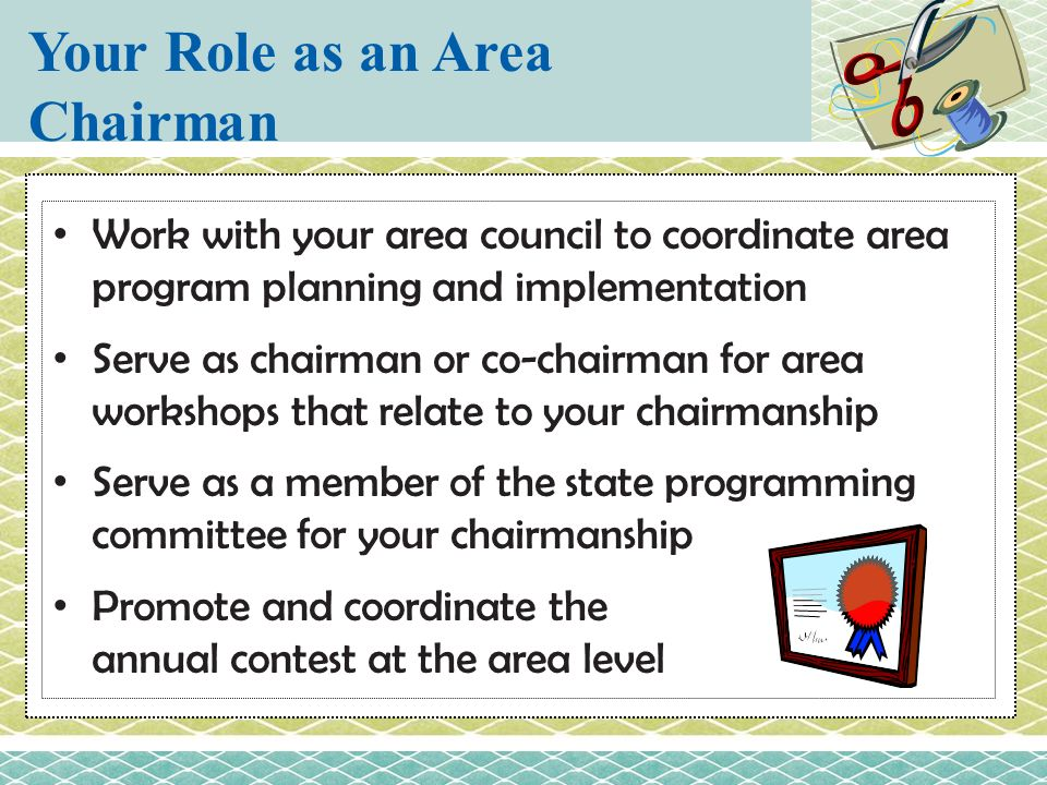 Your Role as an Area Chairman