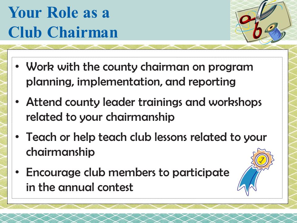 Your Role as a Club Chairman