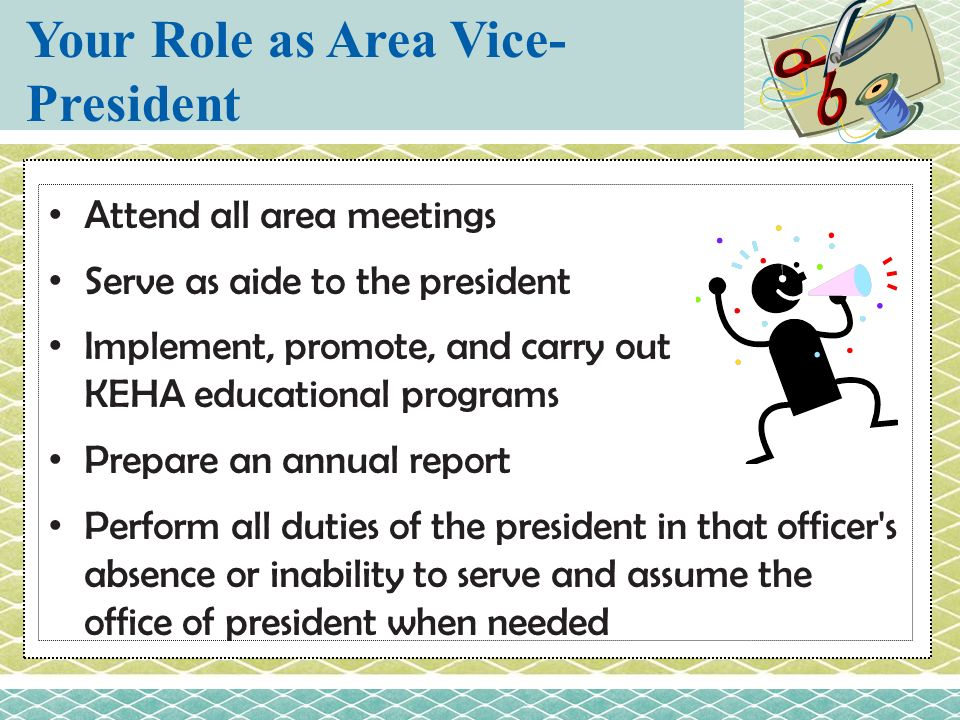 Your Role as Area Vice-President