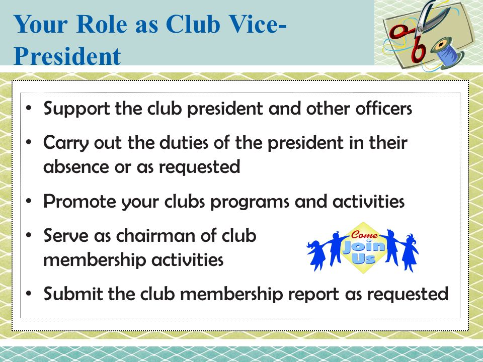 Your Role as Club Vice-President