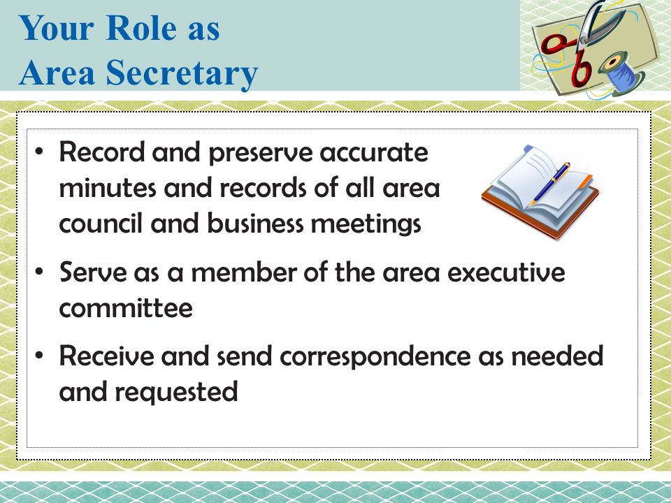 Your Role as Area Secretary