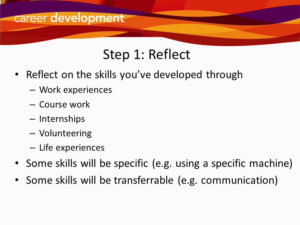 Step 1: Reflect Reflect on the skills you've developed through