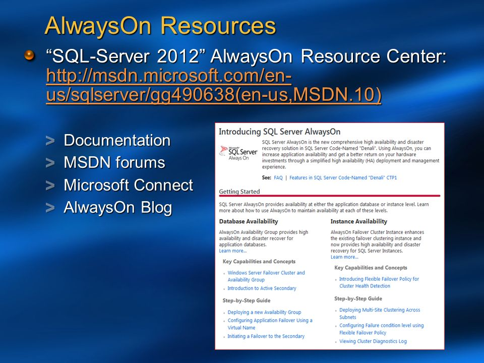 Sql server 2012 always on ppt video online download alwayson resources sql server 2012 alwayson resource center httpmsdn sciox Choice Image