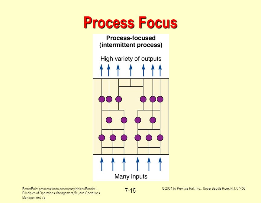 Process Focus It is probably most useful to introduce process focused production systems by example.