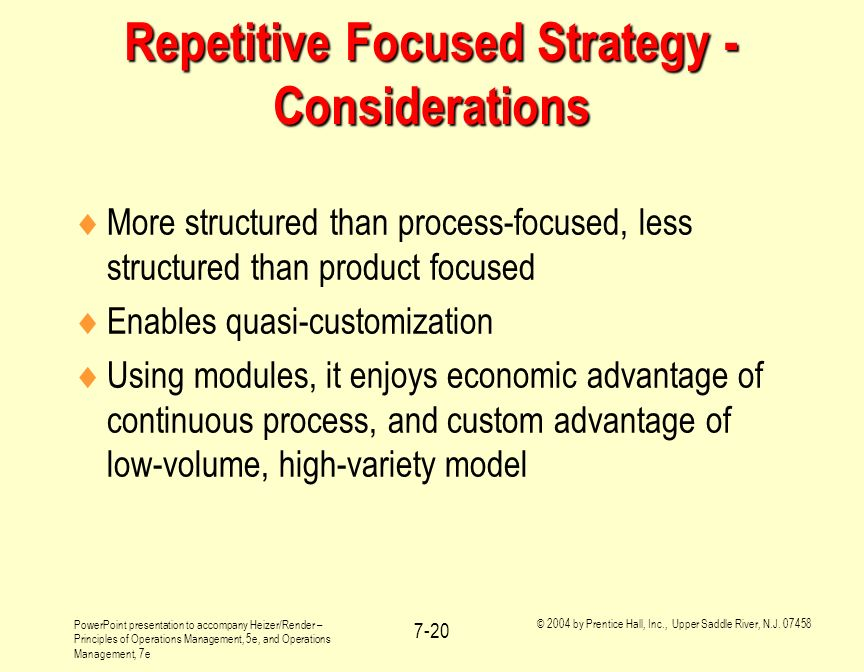 Repetitive Focused Strategy - Considerations