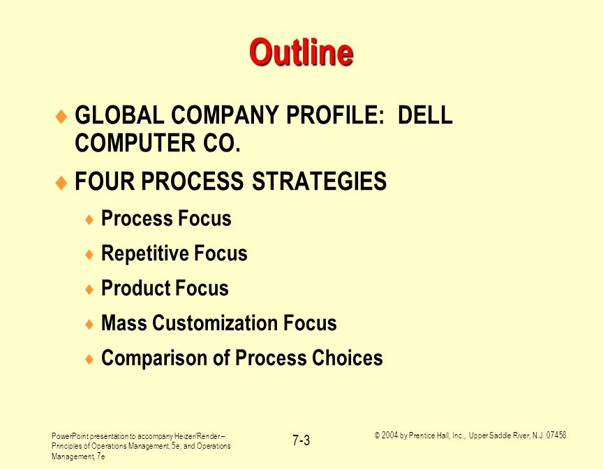 Outline GLOBAL COMPANY PROFILE: DELL COMPUTER CO.