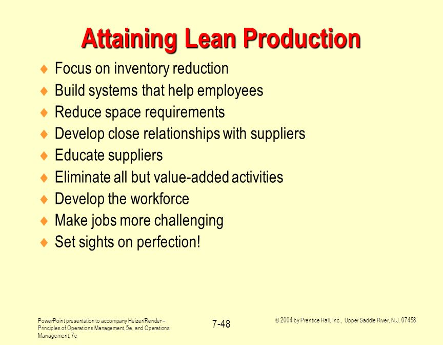 Attaining Lean Production