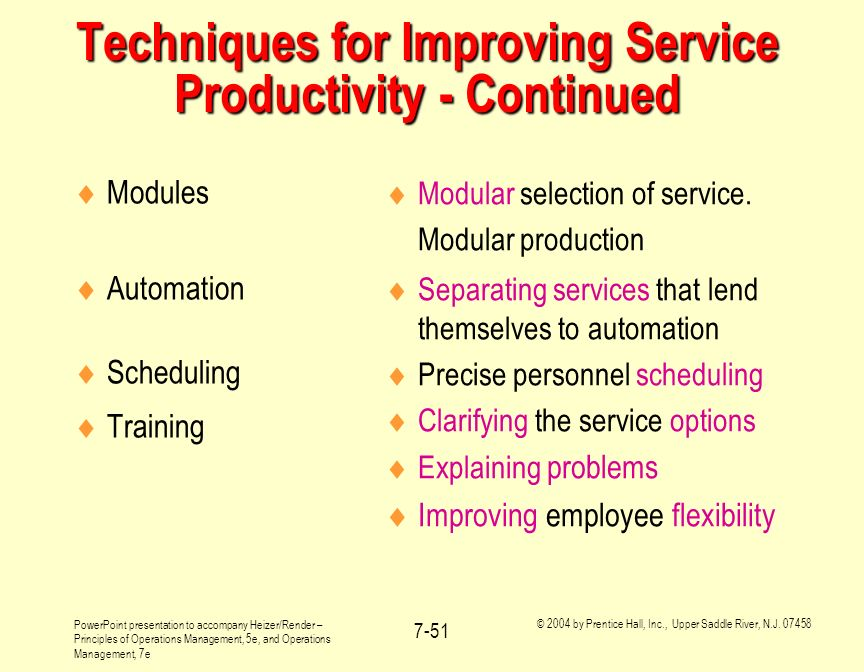 Techniques for Improving Service Productivity - Continued
